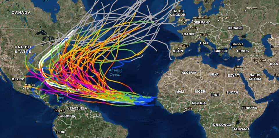 Atlantic storms path Caribbean